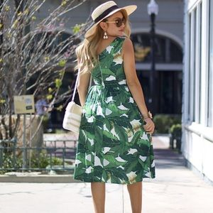Brand new banana leaf print dress